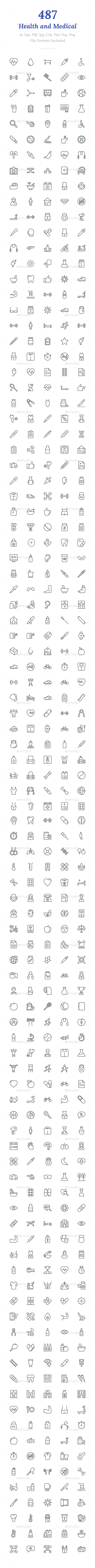 487 Health and Medical Line Icons - Icons