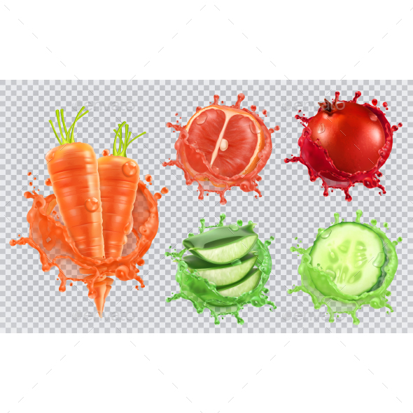 GraphicRiver Aloe Juice Carrots Grapefruit Pomegranate and Cucumber 20704210