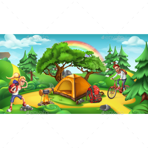 Nature Landscape Vector Panorama - Sports/Activity Conceptual