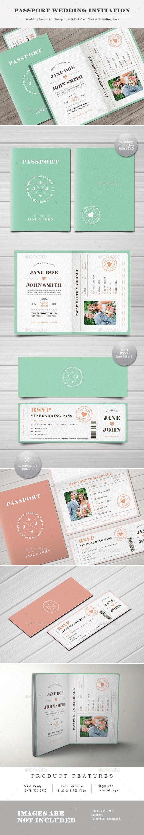 GraphicRiver Pastel Passport Wedding Invitation 20704448