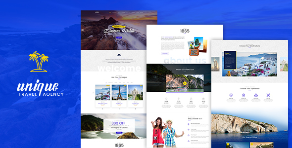 Unique Travel Agency landing page PSD template