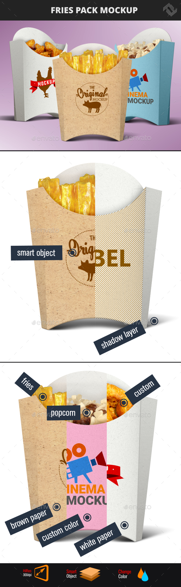 Recycled Paper French Fries Pack Mockup - Product Mock-Ups Graphics