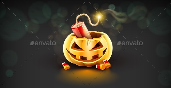 Jack-O-Lantern Pumpkin Head with Dynamite - Halloween Seasons/Holidays