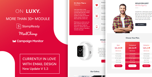 On Luxy - Responsive Email Template With Stampready Online Builder 30+ Modules