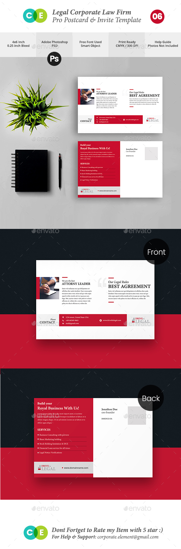 GraphicRiver Legal Corporate Law Firm Business Postcard Invite V06 20704853