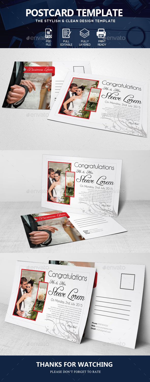 Wedding Invitation Post Cards - Cards & Invites Print Templates