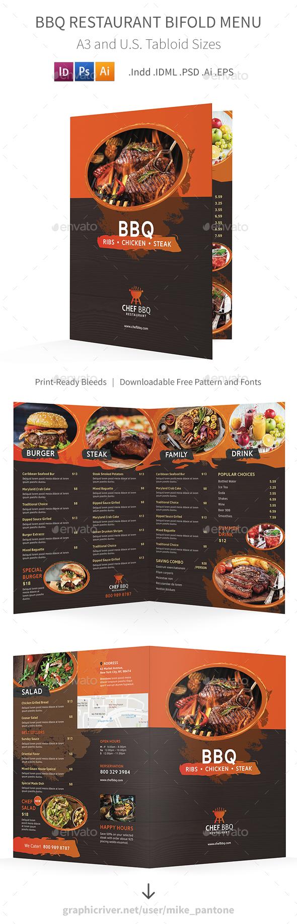 GraphicRiver BBQ Restaurant Bifold Halffold Menu 20705281