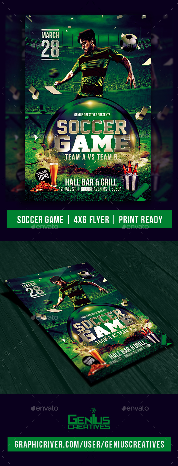 Soccer Game Flyer Template PSD - Sports Events