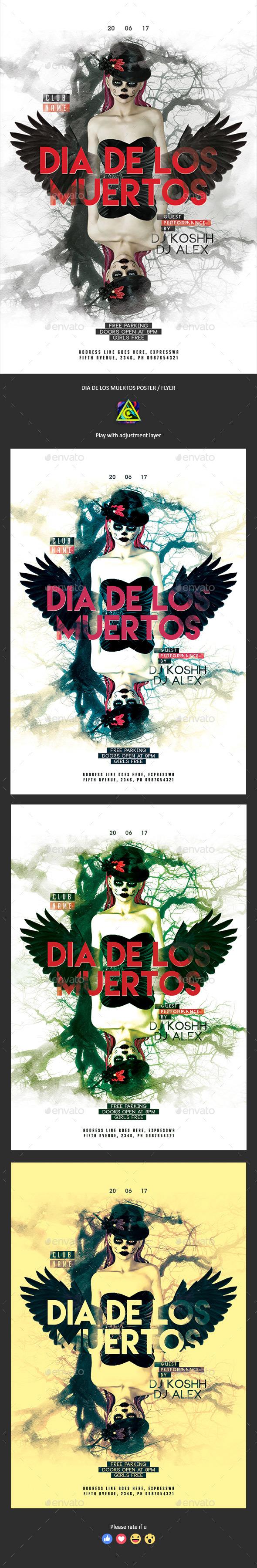 Dia De Los Muertos Party Poster / Flyer - Clubs & Parties Events