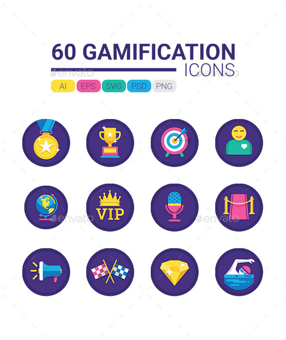 60 Gamification Icons - Miscellaneous Icons