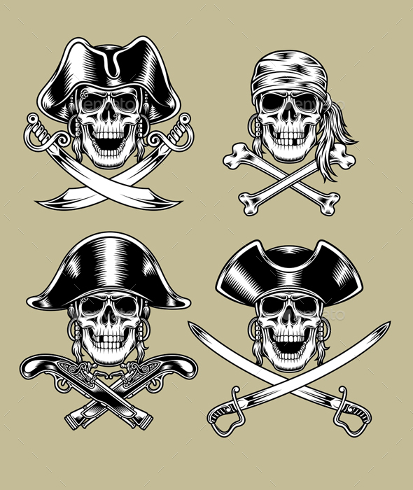 Pirate Skulls - Tattoos Vectors