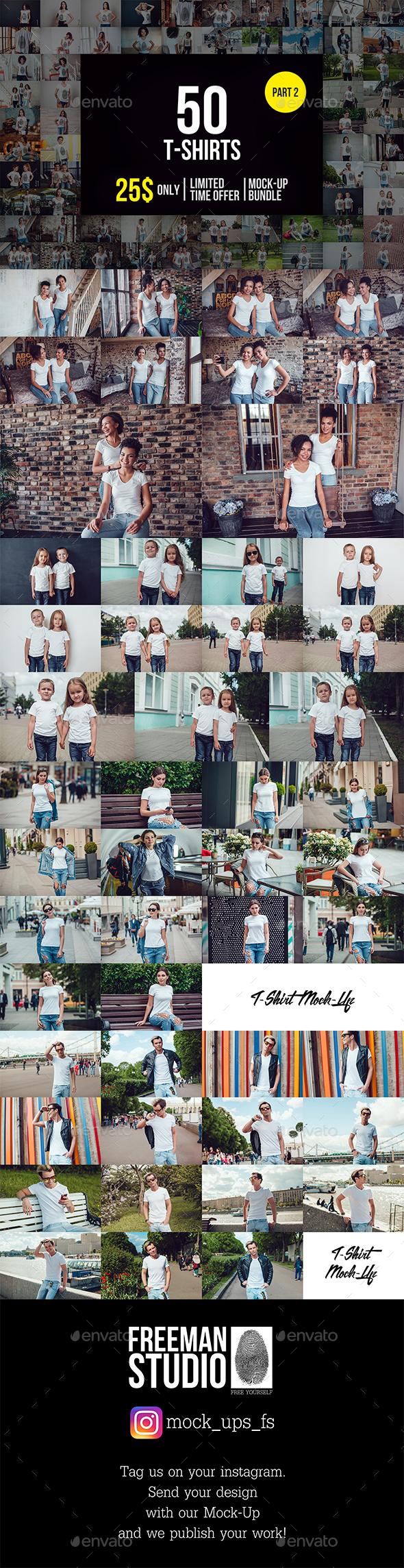 50 T-Shirts Mock-Up Bundle Part 2