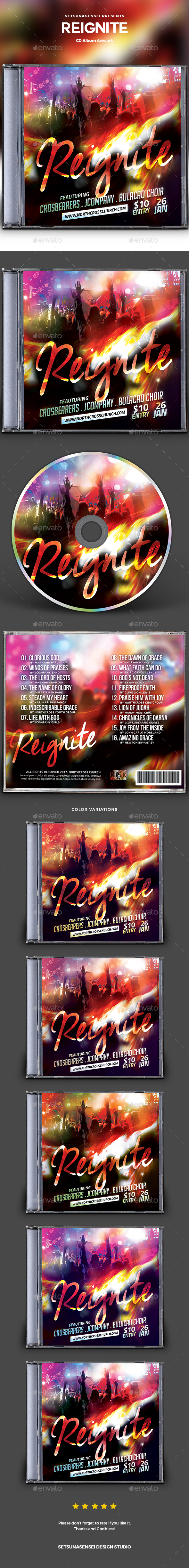 Reignite CD Album Artwork - CD & DVD Artwork Print Templates