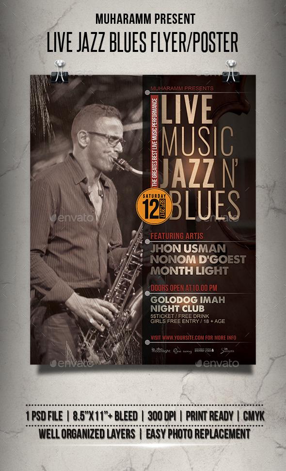Live Jazz Blues Flyer / Poster - Events Flyers