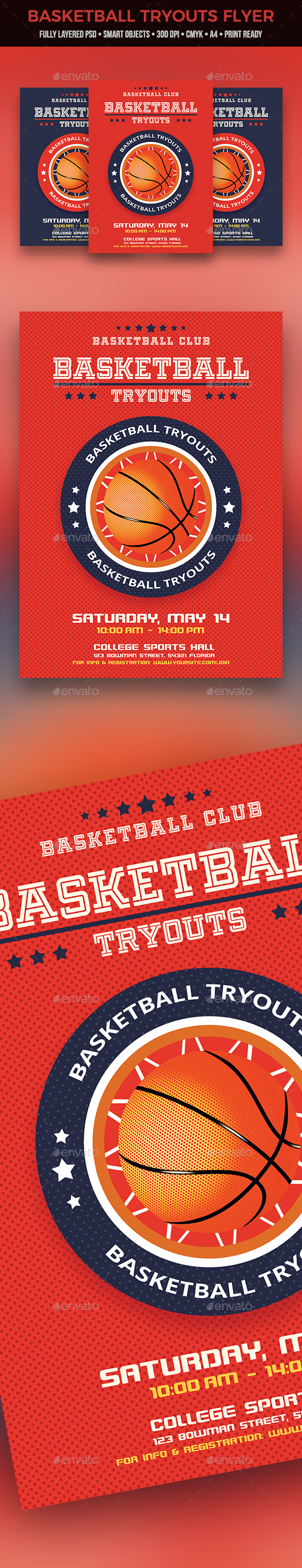 Basketball Tryouts Flyer - Sports Events