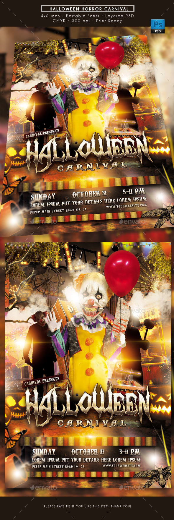 Halloween Horror Carnival Flyer - Events Flyers
