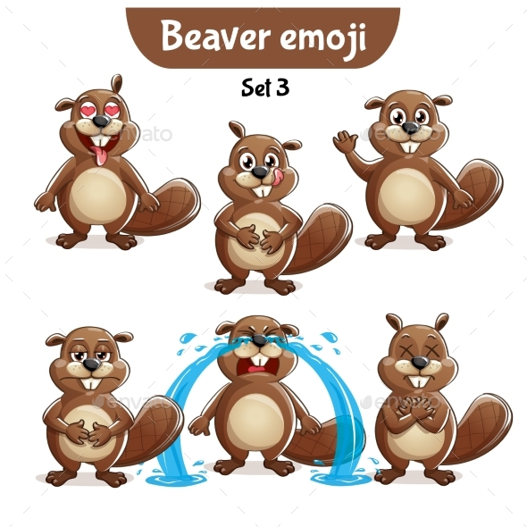 Vector Set of Beaver Characters Set 3 - Animals Characters
