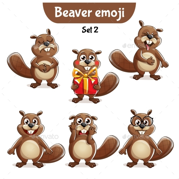 GraphicRiver Vector Set of Beaver Characters Set 2 20706609