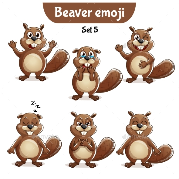 GraphicRiver Vector Set of Beaver Characters Set 5 20706612