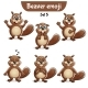 Vector Set of Beaver Characters Set 5