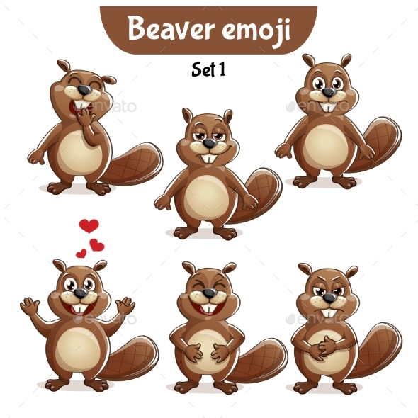 Vector Set of Beaver Characters Set 1 - Animals Characters