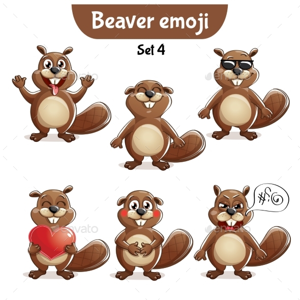 Vector Set of Beaver Characters Set 4 - Animals Characters
