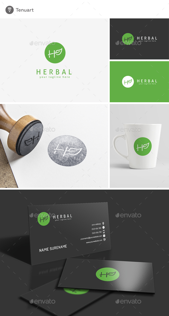 Herbal - Letter H logo Template - Letters Logo Templates