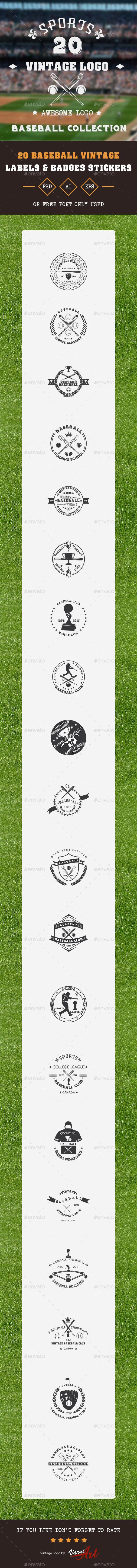 GraphicRiver 20 Baseball Club Vintage Labels 20706732