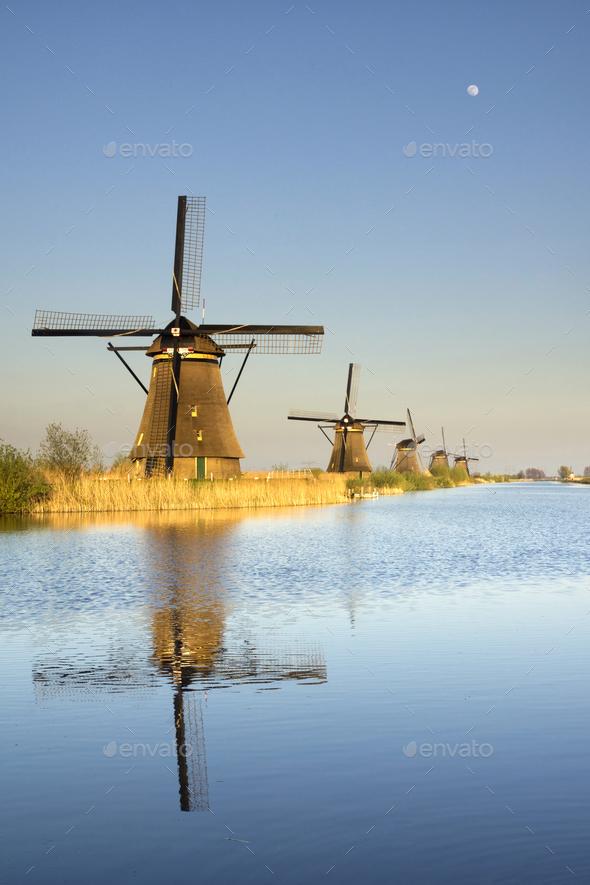 The windmills in Kinderdijk - Stock Photo - Images