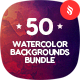 50 Watercolor Backgrounds Bundle - GraphicRiver Item for Sale