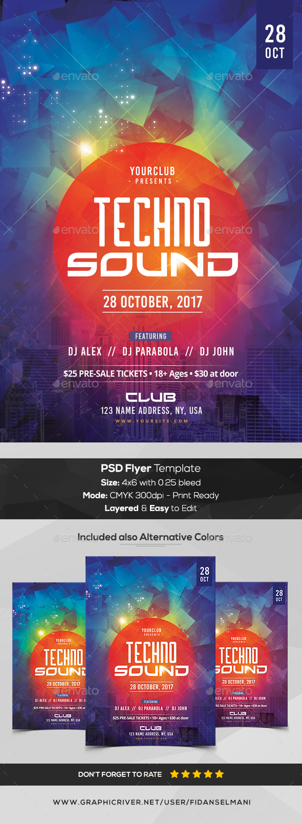 Techno Sound - PSD Flyer Template - Events Flyers