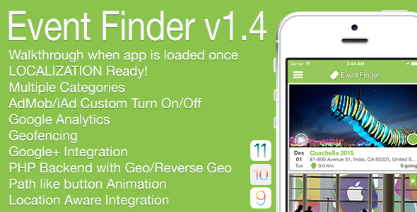 Event Finder Full iOS Application v1.4 - CodeCanyon Item for Sale
