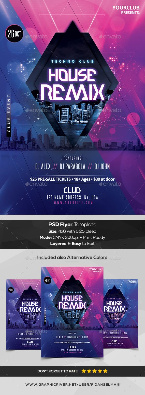 Techno House Mix - PSD Flyer Template - Flyers Print Templates