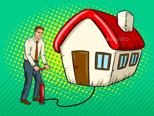 Man Inflate House Pop Art Vector Illustration - People Characters