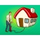 Man Inflate House Pop Art Vector Illustration