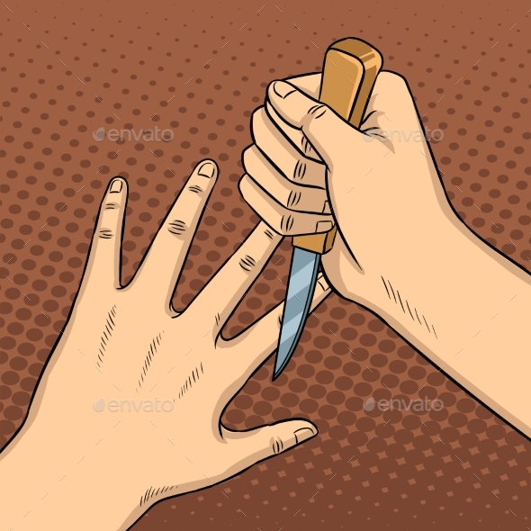 Knife Game Between Fingers Pop Art Vector - People Characters