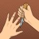 Knife Game Between Fingers Pop Art Vector