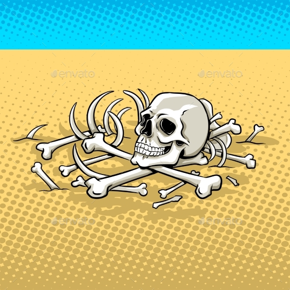 Human Skeleton in the Desert Pop Art Vector - People Characters