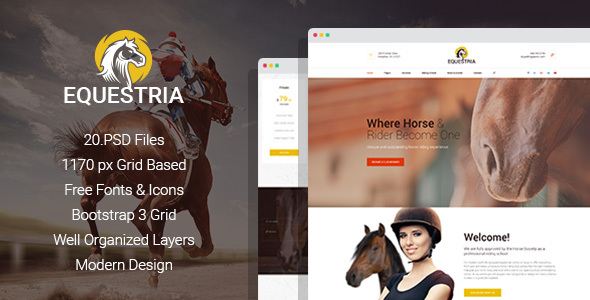 Equestria - Horse Club PSD Template - Corporate PSD Templates