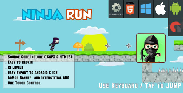 CodeCanyon Ninja Run Adventure 21 levels HTML5 Game Android & IOS & AdMob Construct 2 CAPX 20707737