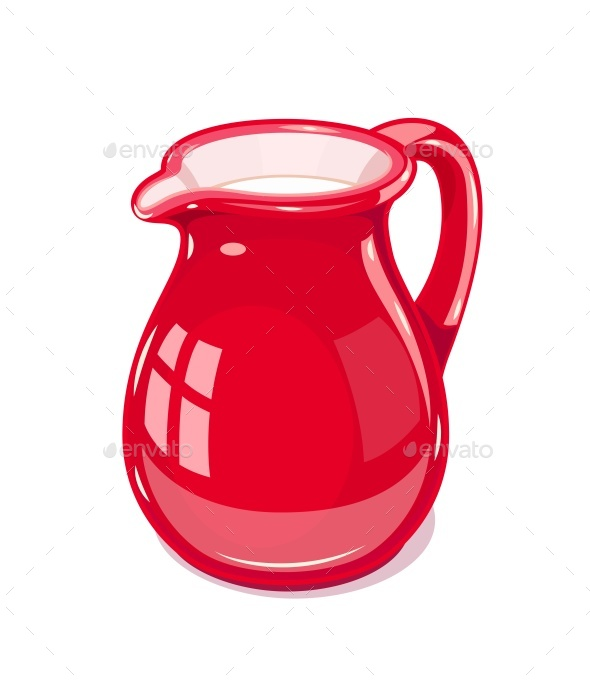 Red Ceramic Jug with Milk - Man-made Objects Objects