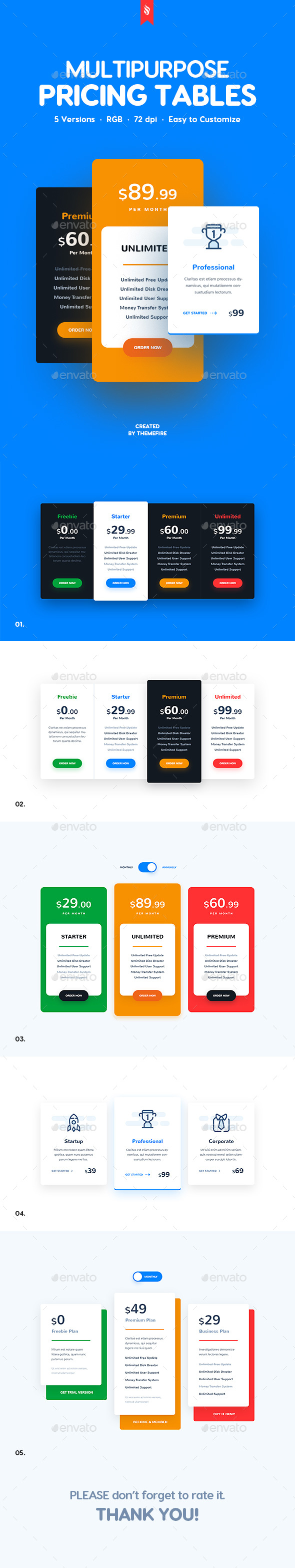 Multipurpose Pricing Tables - Tables Web Elements