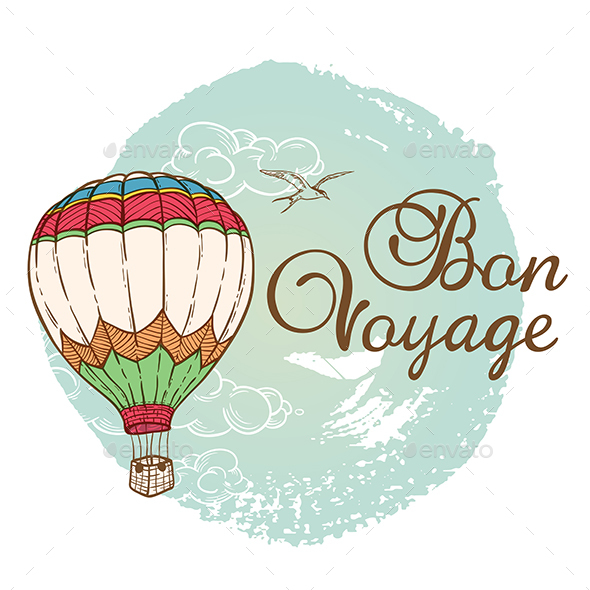 Travel Background with Air Balloon - Travel Conceptual