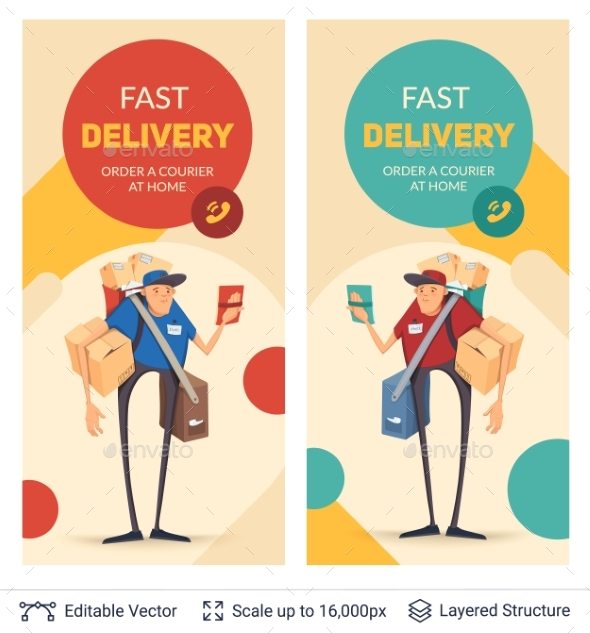 Deliveryman and Ad Text - Services Commercial / Shopping