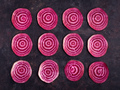 Beetroot slices in pattern