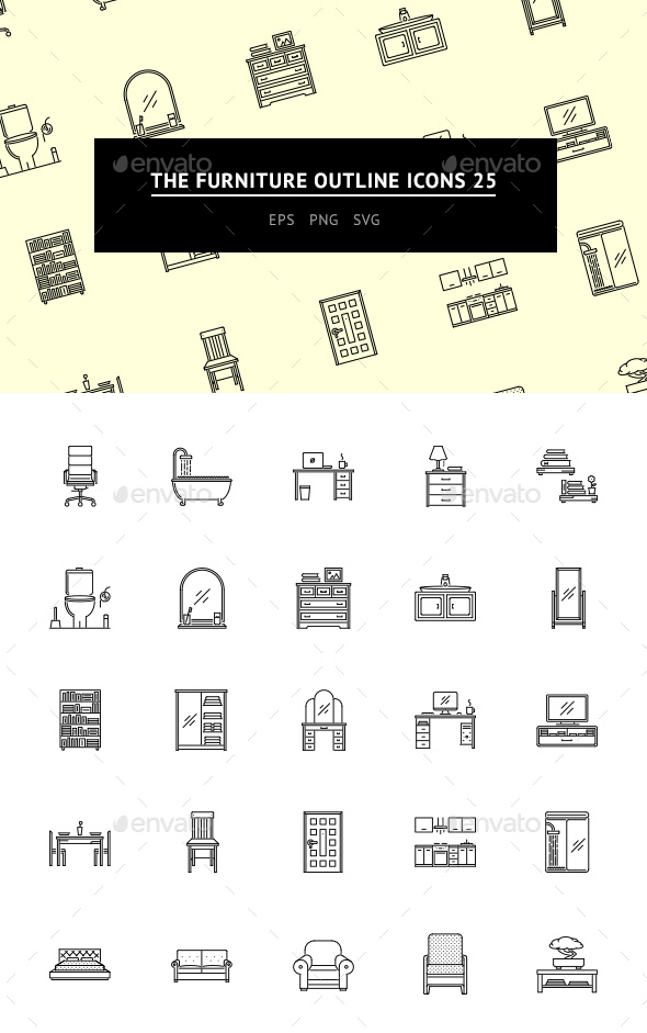 The Furniture Outline Icons 25 - Web Icons