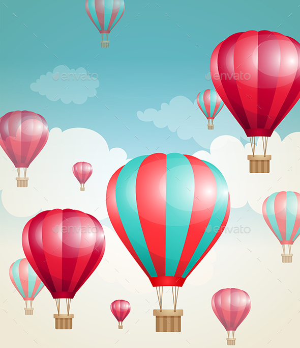 GraphicRiver Red Air Balloons and Clouds 20708192