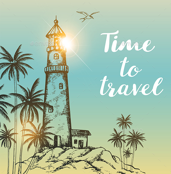 Background with Lighthouse and Palms - Travel Conceptual