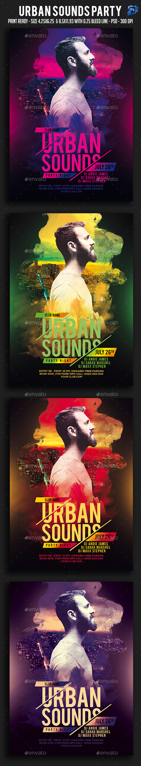 GraphicRiver Urban Sounds Party Flyer 20708315
