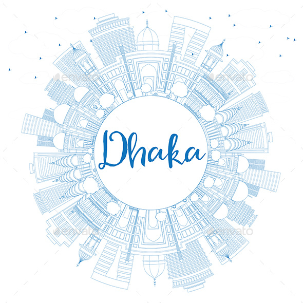 Outline Dhaka Skyline with Blue Buildings and Copy Space - Buildings Objects